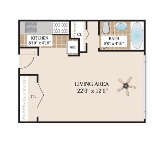 Studio. 655 sq. ft.