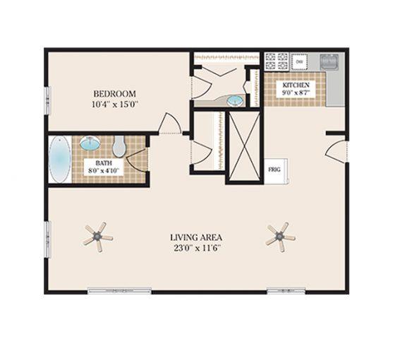 1 Bedroom 1 Bathroom. 1040 sq. ft.